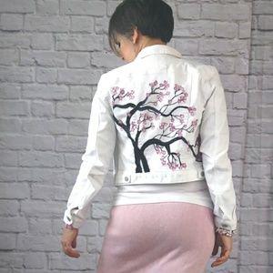 Reckless Resale Jackets & Coats - Sakura Pink Cherry Blossom Painted Denim Jacket